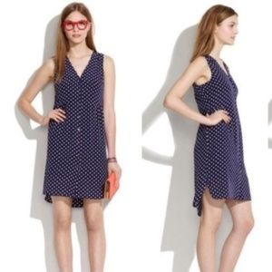 Navy Silk Polka Dot Button Up Madewell Dress